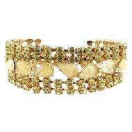 1960's D&E Juliana Jonquil Yellow & Caramel Givre Rhinestones 5-Row Bracelet