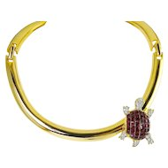 Kenneth Jay Lane Gold Plated Collar Necklace with Ruby Crystals Turtle, Invisibly Set Stones