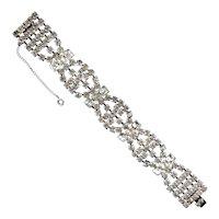 KRAMER of N.Y. Crystal Rhinestones 5-Row Bracelet, Unusual Square Stones, Safety Chain