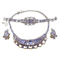 KRAMER of N.Y. Faux Alexandrite Necklace, Bracelet & Ears, Color-Change, Aqua & Lavender