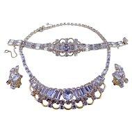 KRAMER of N.Y. Faux Alexandrite Necklace, Bracelet & Ears, Color-Change, Aqua & Lavender