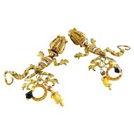 Lunch at The Ritz Enamel & Rhinestone Lizard Earrings, Fully Jointed