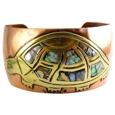 Laton Mexico Copper & Brass Turtle Cuff Bracelet with Abalone Inlay