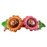 Tooled Multicolor 3-D Leather Flowers Band Bracelet, Adjustable