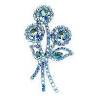 Dazzling Sapphire Blue AB Rhinestones Tall Flowers Brooch Pin, 3 Flower Bouquet, Exc. Cond.
