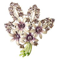 1950's Rhinestone Lilac Blossoms & Pink Enameled Flowers Bouquet Pin