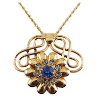 "Retro Gold Filled Flower & Scrolls Blue Crystal Pendant, 20"" G.F. Necklace"