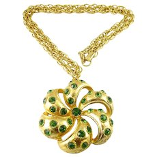 LISNER Large Gold Plated Flower Pendant with Green Rhinestones, Heavy Rope Chain Necklace