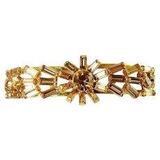 1950's Light Topaz Multi Shape Rhinestones Clamper Bracelet, Floral Centerpiece