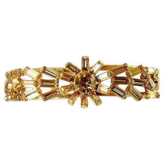 1950's Light Topaz Multi Shape Rhinestones Clamper Bracelet, Floral Centerpiece