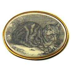 Scrimshaw Brooch of Crouching Cat & Tiny Mouse Sneaking Up from Behind, MFA Design