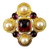 Maltese Gold-Plated Cross Brooch Pin with Faux Pearls, Ruby & Amethyst Cabochons