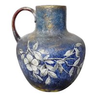 Rare MATT MORGAN Art Pottery Ewer Handled Vase 1883, Blue with White Flowers