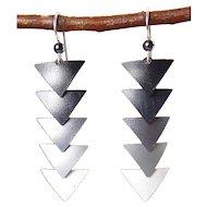 Barbara McCambridge Ombre Silver, Gray, Black Dangling Triangle Earrings