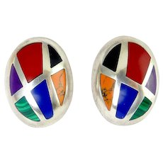 Sterling Silver Gemstone Inlay Oval Clip On Earrings, Mexican: Jasper, Sugilite, Onyx, Malachite, Lapis, Orange Howlite