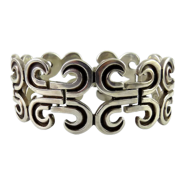 Vintage Heavy Mexican Sterling Silver Pre-Colombian Links Bracelet, Solid 84 Grams