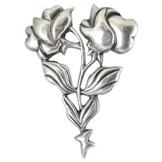 Large Mexican Sterling Silver Puffy Double Roses Brooch, Circa 1935