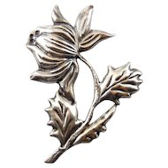 Mexican Sterling Silver Puffy Wide Flower on Stem Brooch Pin, 1930s
