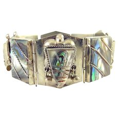 Mexican Sterling Silver & Abalone Aztec Mayan Masks Bracelet