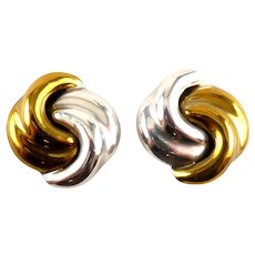 Taxco Mexico Sterling & Brass Reverse Curve Knot Earrings, Clip on, Clip Back