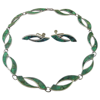 1920's Mexican Sterling Silver, Turquoise Inlay Necklace & Screw Back Earrings