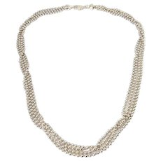 MILOR Sterling Silver 4 Strand Ball Shot Bead Necklace, Made in Italy