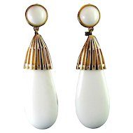 1970's MONET Long White Acrylic Lucite Teardrop Earrings, 2 3/4 Inches