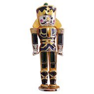 Monet Nutcracker Soldier Pin, Navy Enamel, Green & Sapphire Blue Rhinestones