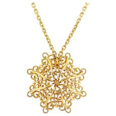 1970's MONET Golden Curclicues Flower Pendant on Long Chain Necklace