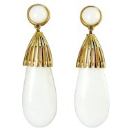 Long 1970's MONET White Acrylic Lucite Teardrop Earrings, Gold-Plated Cage Tops, 2 3/4 Inches