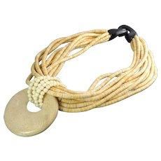 Vintage Gerda Lynggaard Monies Coconut Shell, Horn & Gemstone Pendant Necklace – Removable Pendant