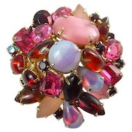 1960's Multi Pink & Red Rhinestones Brooch Pin, Variety of Stone Shapes