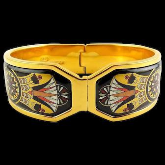 Michaela Frey Contessa Hinged Bangle – Egyptian Lotus Flowers, Art Deco Design, Original Box