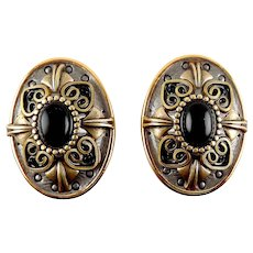 Michal Golan Silver, Brass, Black Stones Oval Clip Back Earrings