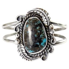 Native American Vintage Sterling Silver & Turquoise Cuff with Feathers, Black Matrix