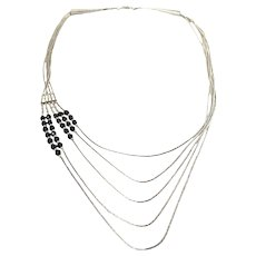 Native American Sterling Silver Liquid Silver 5-Row Necklace with Black Beads