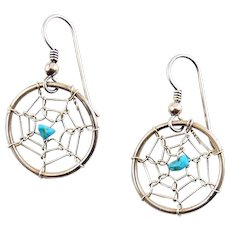 Native American Sterling Silver & Turquoise Dream Catcher Earrings - Spider Webs