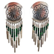 Native American Sterling Silver Concho & Malachite Dangle Earrings, Southwest Silver & Green