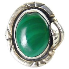 Mexican Sterling Silver & Malachite Ring with Feather, Southwest Style