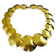 NAPIER Gold-Plated Hammered Disks Contoured Necklace