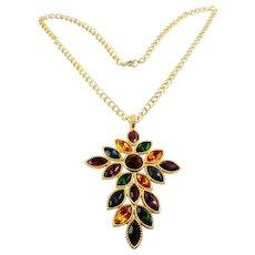 NAPIER 1991 Royalton Multicolor Crystal Pendant Necklace - Ruby, Topaz, Emerald, Amethyst, Sapphire