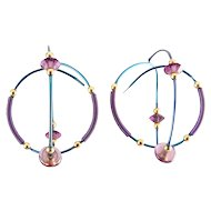 Niobium Blue & Purple Wire Spiral Sphere Earrings -Purple & Gold Beads