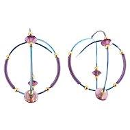 Niobium Blue & Purple Wire Spiral Sphere Earrings -Purple & Gold Beads