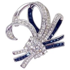 Nolan Miller Retro Bow Brooch Pin, Crystal & Sapphire Rhinestone Baguettes