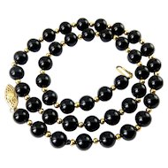 Black Onyx & 14K Gold Spacer Beads Necklace, 18 1/2 Inches