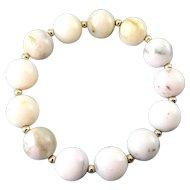 Multicolor Opal & 14K Gold Beads Stretch Bracelet