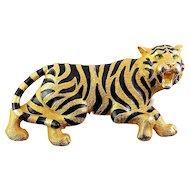 """Vintage 1980's Paquette Enamel Tiger Large Belt Buckle – 4"""" Wide, Figural"""