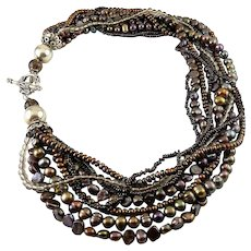 Peacock Pearls, Smoky Quartz, Glass Beads & Sterling Silver Multi-Strand Necklace, Toggle Clasp