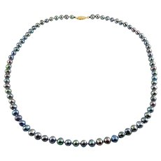 Peacock Pearls Necklace with 14K Gold Filigree Clasp, 18 Inches