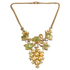 1950's Faux Pearl & Rhinestones Grape Cluster with Enameled Green Leaves Necklace